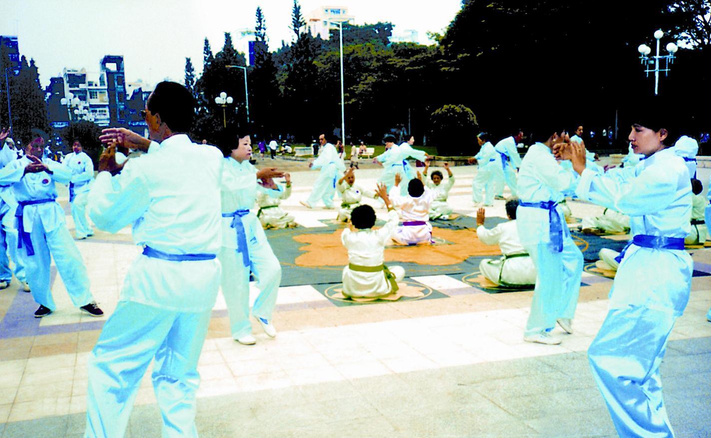 Học viên tập luyện Thái Cực Khí Công Thập Nhị Liên Hoa tại công viên Lê Văn Tám TPHCM